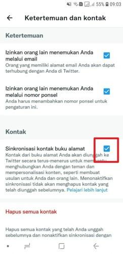 cara sinkronisasi kontak hp ke twitter