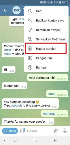 cara keluar dari chatbot telegram