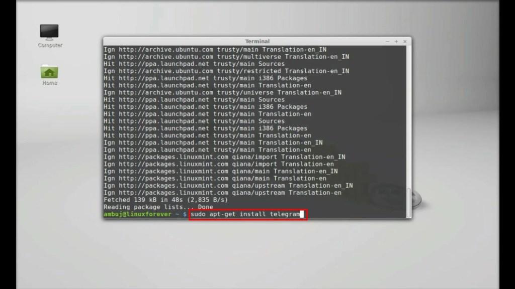 cara install telegram di linux