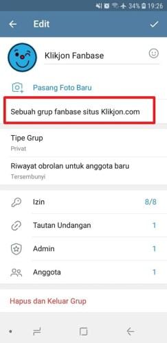 cara menambahkan deskripsi grup telegram