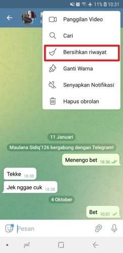 cara menghapus pesan telegram otomatis