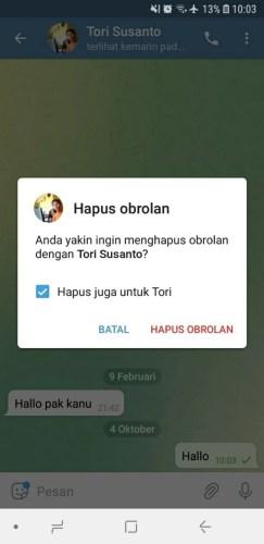 cara menghapus pesan di telegram