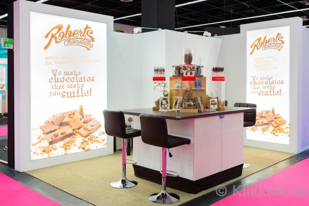 De stand van Roberts op de ISM 2019 in Köln. Gebouwd door Salut Expo.