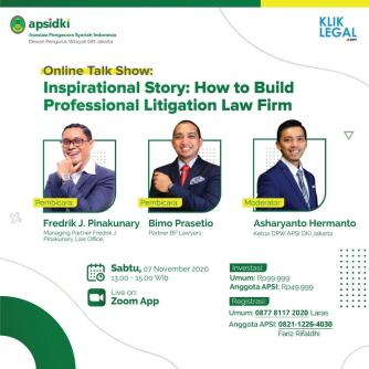 """Talkshow """"Inspirational Story: How to Build Professional Litigation Law Firm"""""""