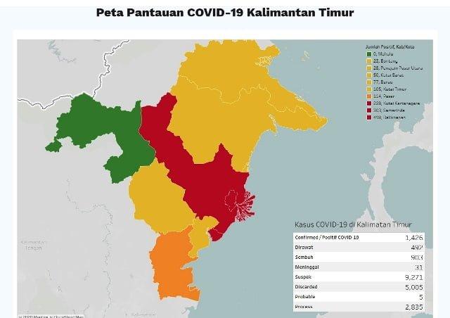 peta pantauan covid-19 kaltim 31 juli 2020