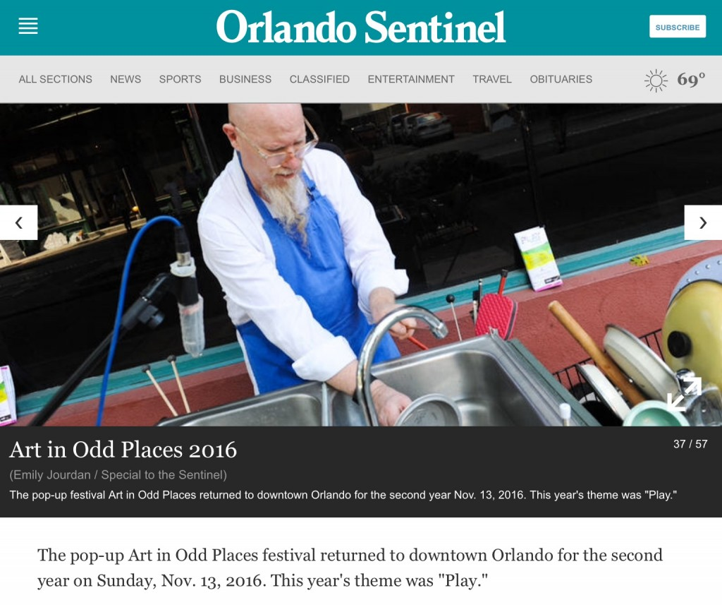 """a photo in the Orlando Sentinel Newspaper of klimchak performing """"When You Whistle, It's Not Work""""."""