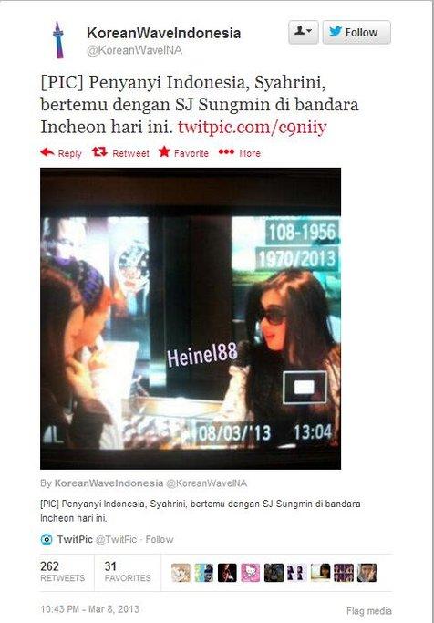 Syahrini dikabarkan bertemu dengan Sungmin di bandara Incheon | Foto: @KoreanWaveIndonesia