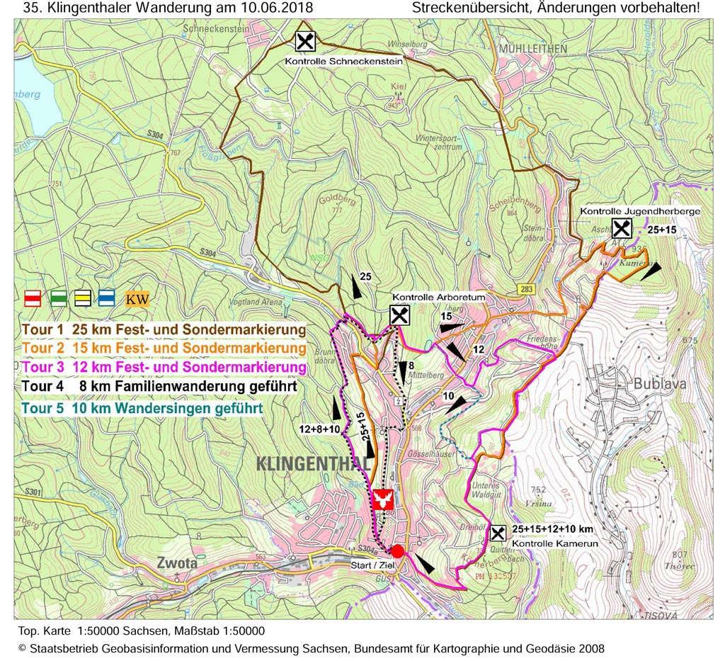 35. Klingenthaler Wanderung - Streckenübersicht