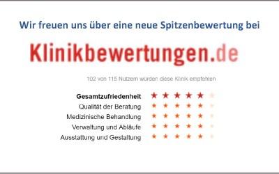 Spitzenbewertung bei klinikbewertungen.de