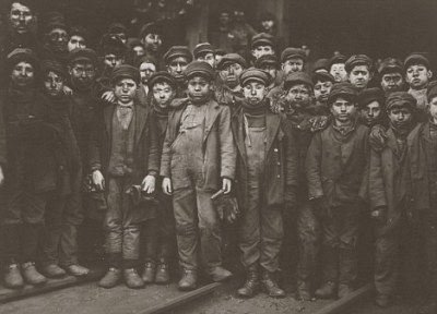 Breaker boys working in Ewen Breaker Mine in South Pittston, Pennsylvania, 10 January 1911, from a 1908-1912 series on...