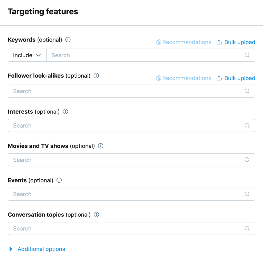 Twitter targeting features