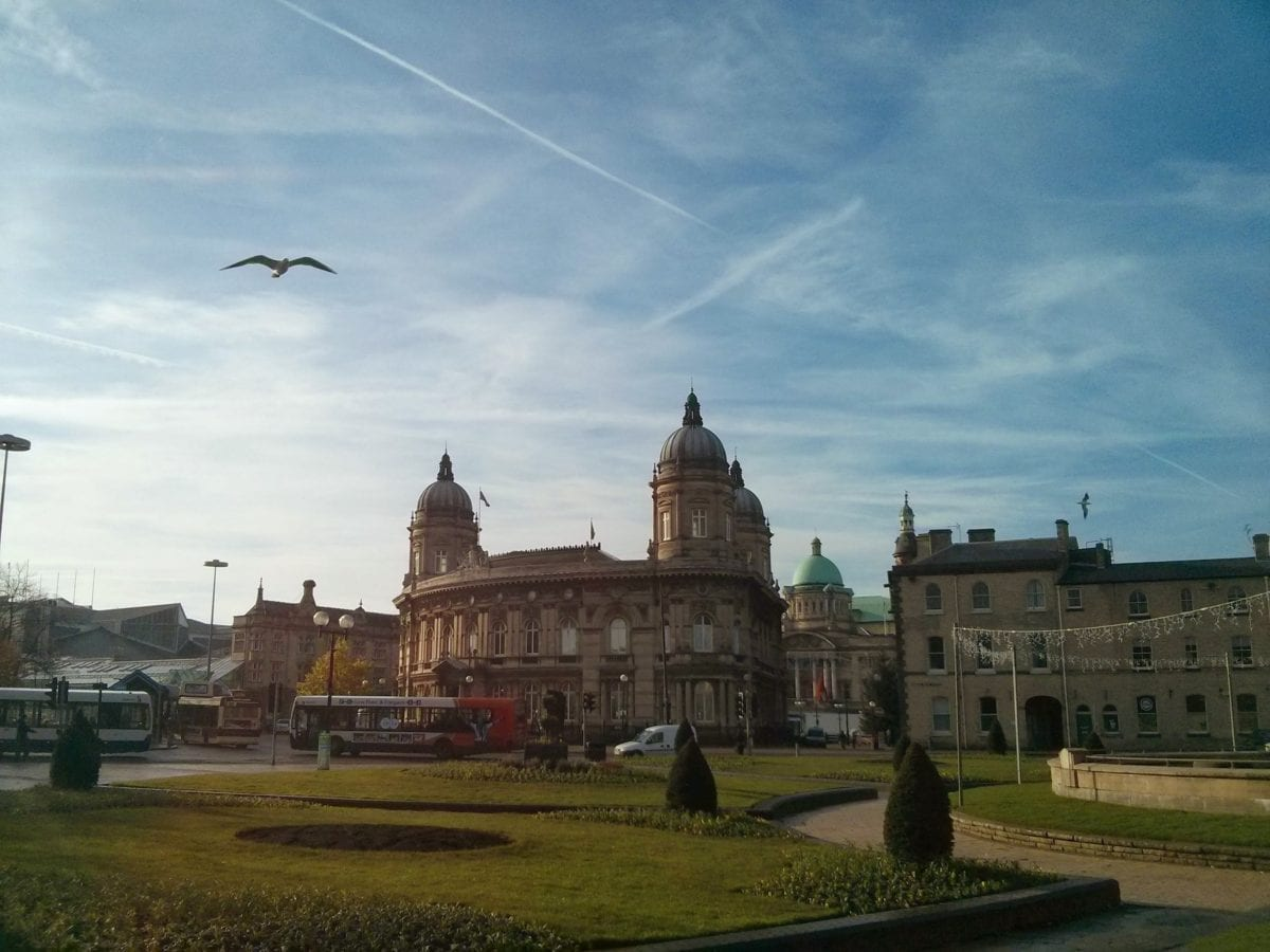 Hull with birds in the sky