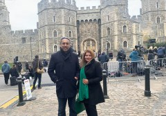 Community activists Iqbal Sandhu and Hina Malick visiting Winsor Castle to pay tribute to HRH Prince Phillip