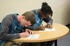 Seniors Grant Mitchell and GK Wells- LIndsay happily sign to play basketball at KVCC. Both being great leaders and even better students. Photo Credit / Paul Vallier