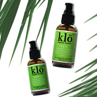 Klo Organic Beauty oil cleanser and serum duo for oily acne-prone skin
