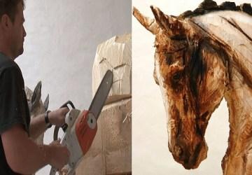Umenie motorovou pílou: Umelec pretvára kusy dreva na jedinečné sochy