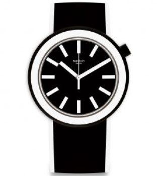 Dibujo animado de un reloj en color negro con blanco