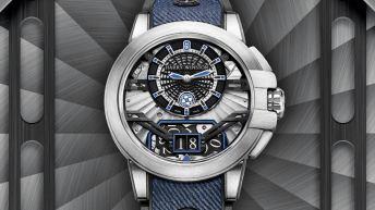 Caratula reloj Harry Winston en color plateado con detalles en color azul y negro