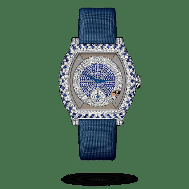 Reloj con correa azul y marco azul con blanco elegante