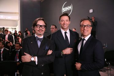 GENEVA, SWITZERLAND - JANUARY 14: Davide Cerrato, Hugh Jackman and Nicolas Baretzki attend the Montblanc Conference at SIHH, at Palexpo on January 14, 2019 in Geneva, Switzerland. (Photo by Julien M. Hekimian/Getty Images For Montblanc )