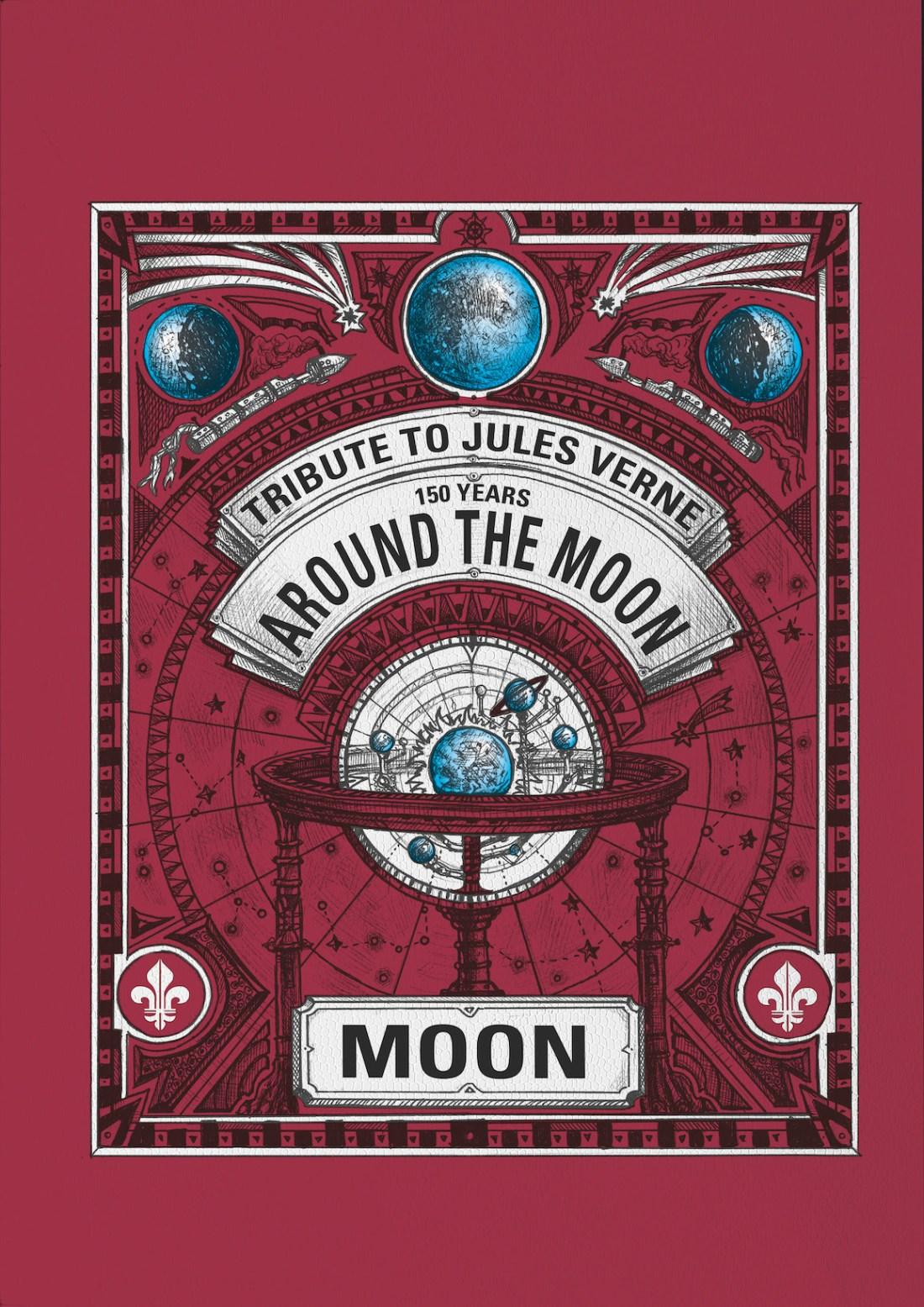 Cartel en color rojo con figuras de lunas y la palabra moon