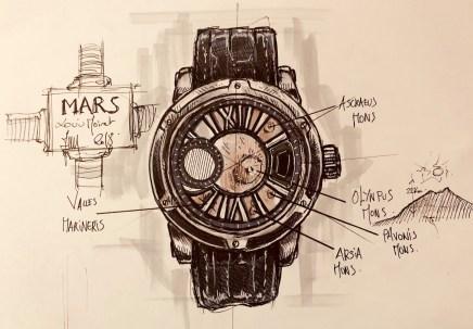 Imagen del boceto del reloj Mars a lapiz con fondo en color beige
