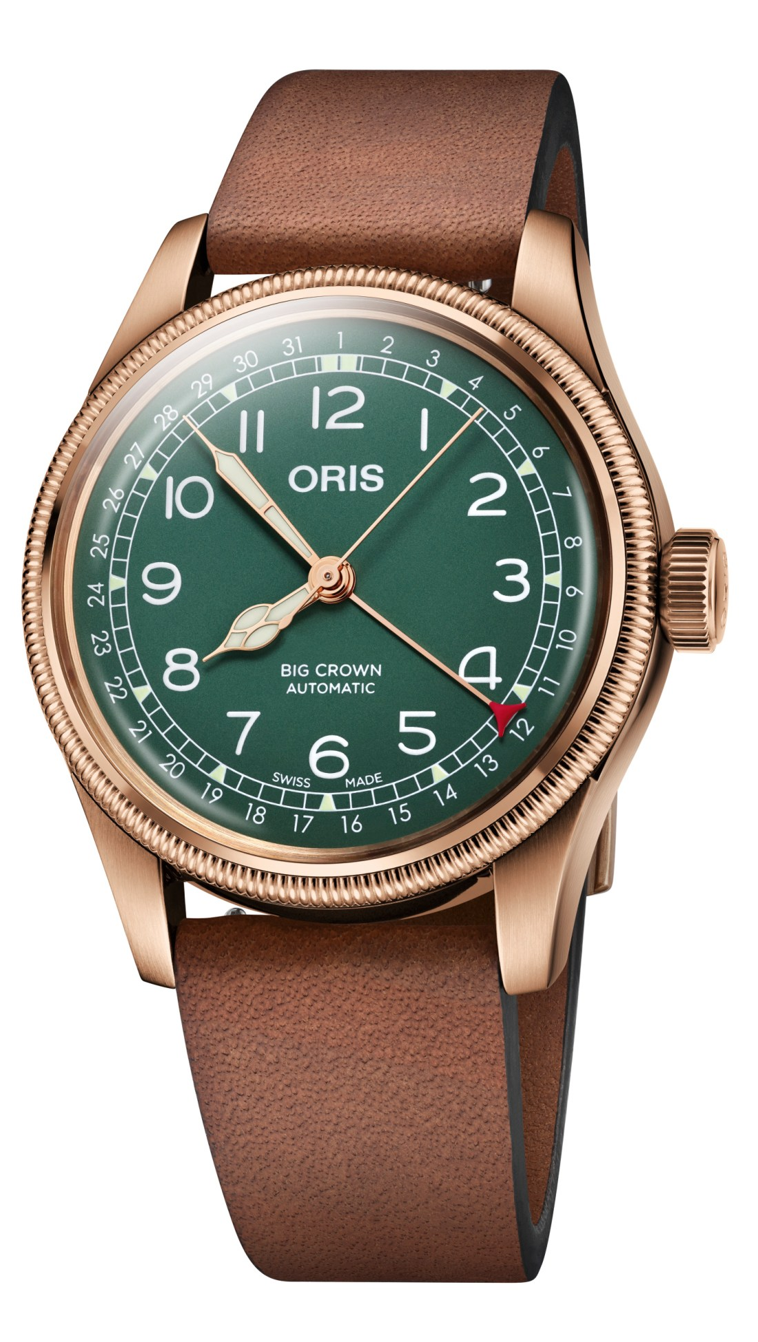 Oris Big Crown Pointer Date con correas y detalles en color bronce y dial en color verde con detalles en color blanco
