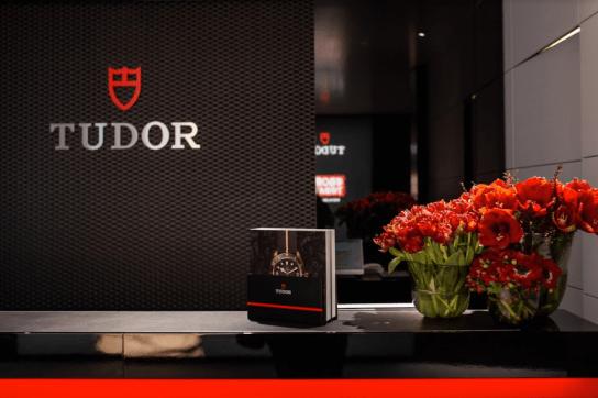 Recepcion de Tudor con flores rojas y folletos Tudor