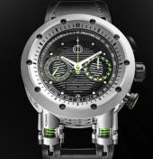 Reloj MW&CO en color plateado con detalles en color verde y blanco