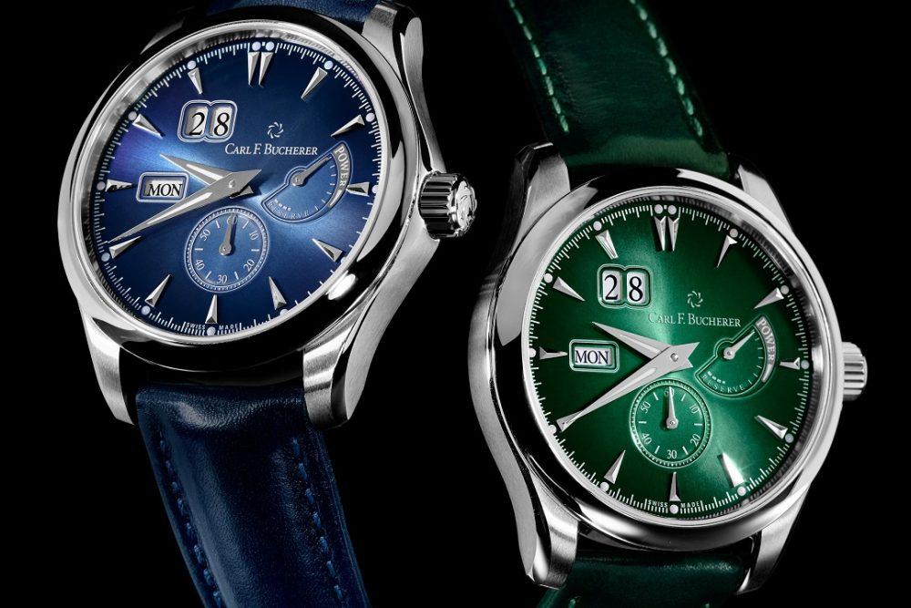 Relojes en color azul y verde ambos con detalles en color plateado con blanco