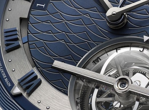 Caratula de un reloj Breguet color azul y plateado con Guilloché Technique