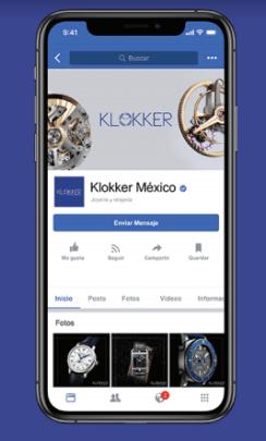 Celular con la página de facebook de Klokker