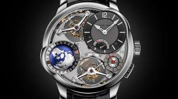 Reloj GMT Quadruple Tourbillon con correas negras y detalles en color plateado