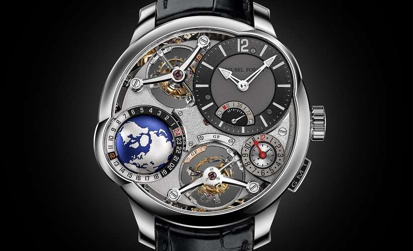 Reloj GMT Quadruple Tourbillon con correas negras y detalles en color plateado