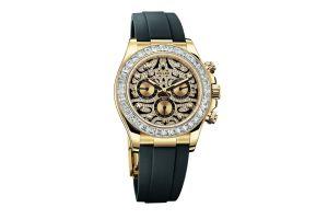 Rolex jaguar con correas negras y caratula en color dorado con diamantes blancos