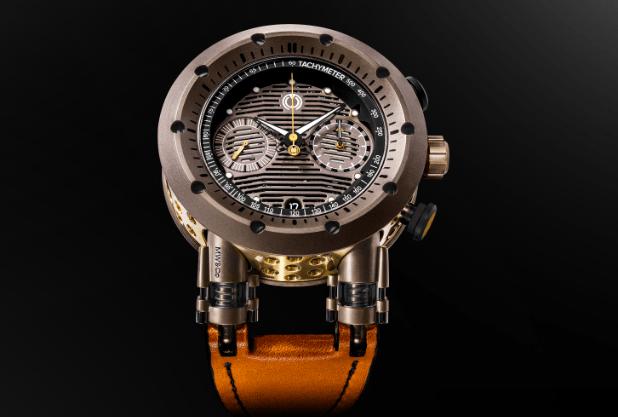 Reloj MW&Co con caratula en color café con dorado y detalles negros con correas en color naranja