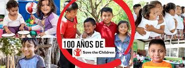 Imagen de niños sonriendo con la leyenda 100 años de Save the Children