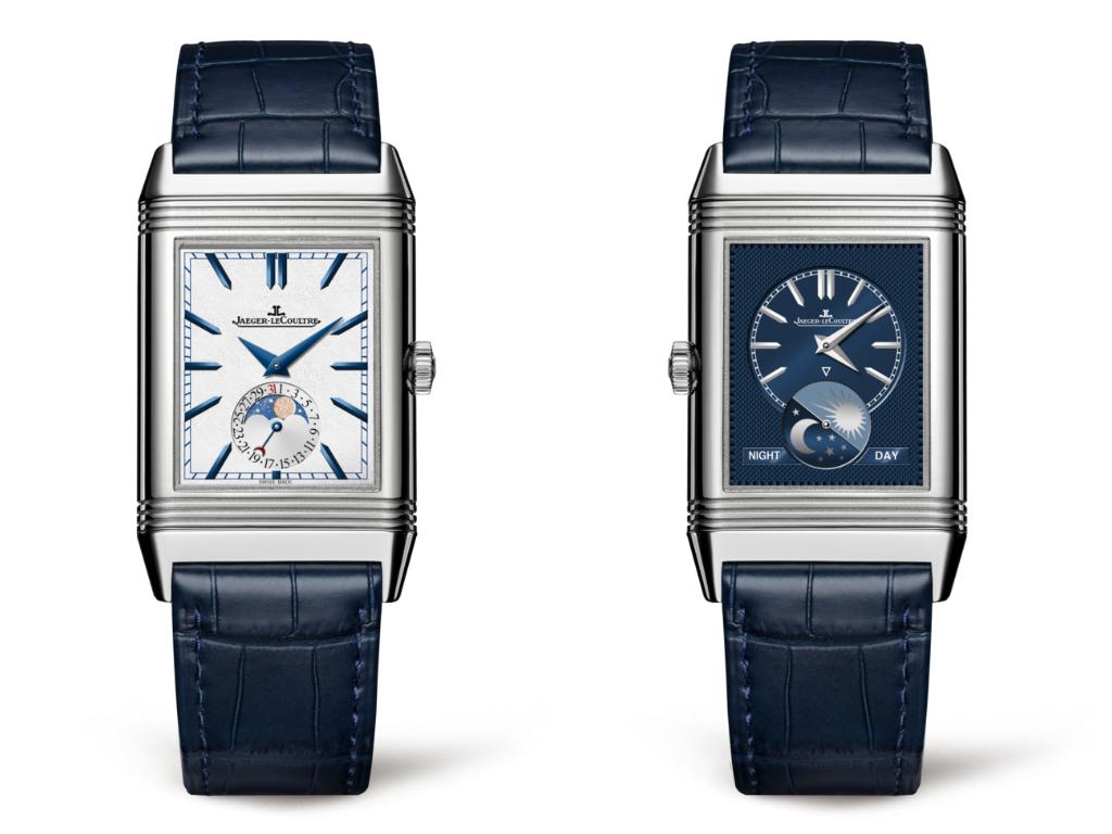 Reloj con caratula rectangular en color plata y correas en color azul
