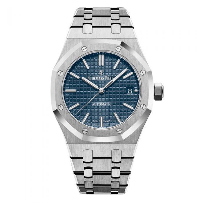 Reloj plateado con caratula en color azul con detalles en blanco