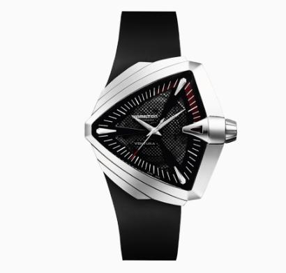 Reloj Ventura XXL Auto con correas negras y caratula en color plateado con blanco y rojo