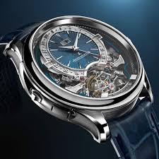 Reloj Master Grande Tradition Gyrotourbillon Westminster Perpétuel con correas azul marino y caratula plateada