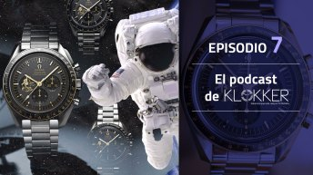 Portada de El Podcast de Klokker Episodio 7 con relojes y aun astronauta de fondo
