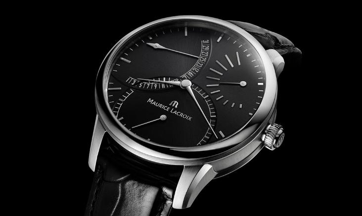 Reloj Calendrier Regrograde con correas negras y caratula en color plateado con negro