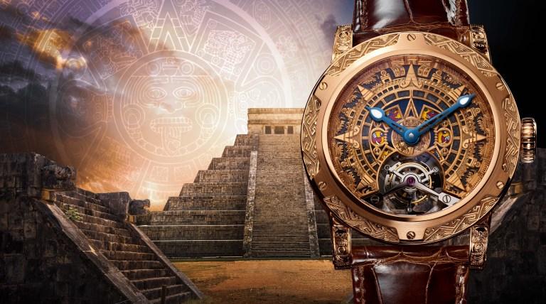 Portada con el reloj Only México con imágenes del arte Azteca
