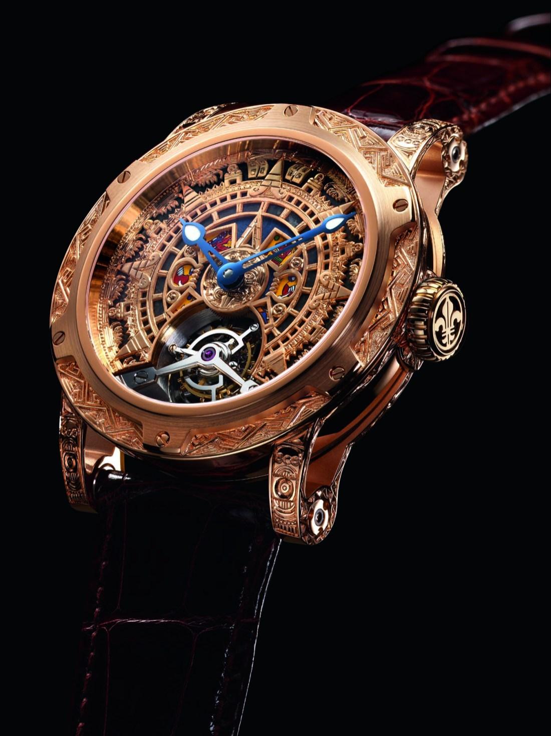 Reloj Only México con correas en color café y caratula dorada con la figura del calendario azteca