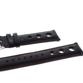 20 mm sort lærreim med rød søm
