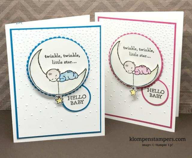 Moon Baby stamp set from Stampin' Up! is perfect for quick and easy baby cards. All details posted at klompenstampers.com
