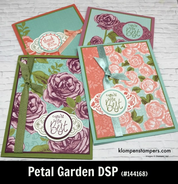 Petal Garden Designer Series Paper (DSP) projects. Instructions posted. DSP helps you make quick and easy cards.