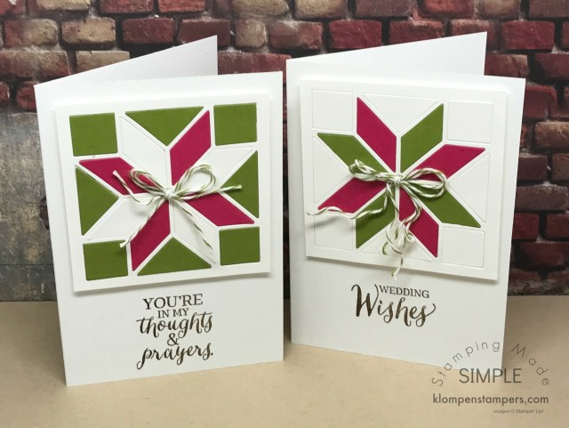 Note cards made using the Stampin' Up! Christmas Quilt Bundle and Rose Wonder stamp set