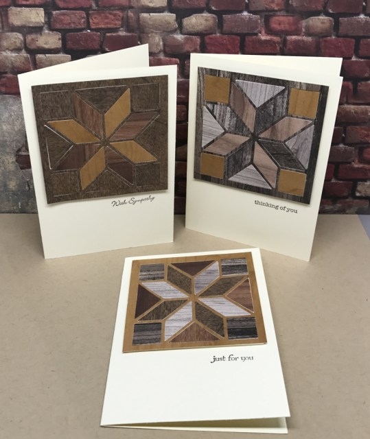 Note cards made using the Stampin' Up! Christmas Quilt Bundle and Wood Textures DSP
